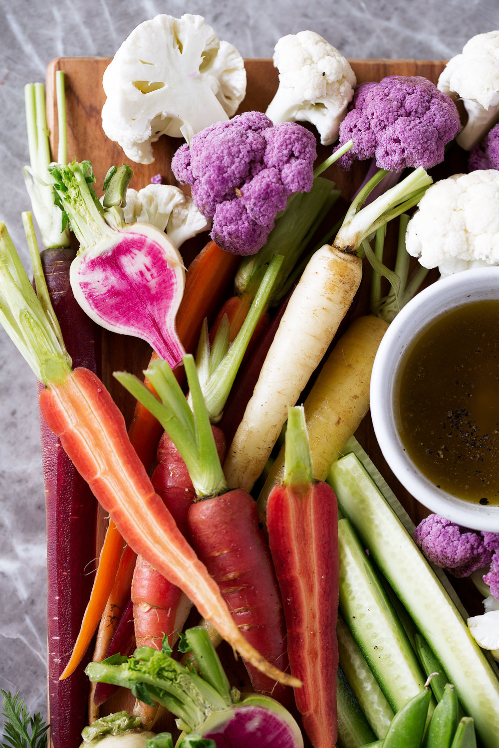 bagna cauda crudité platter recipe from cooking with cocktail rings closeup