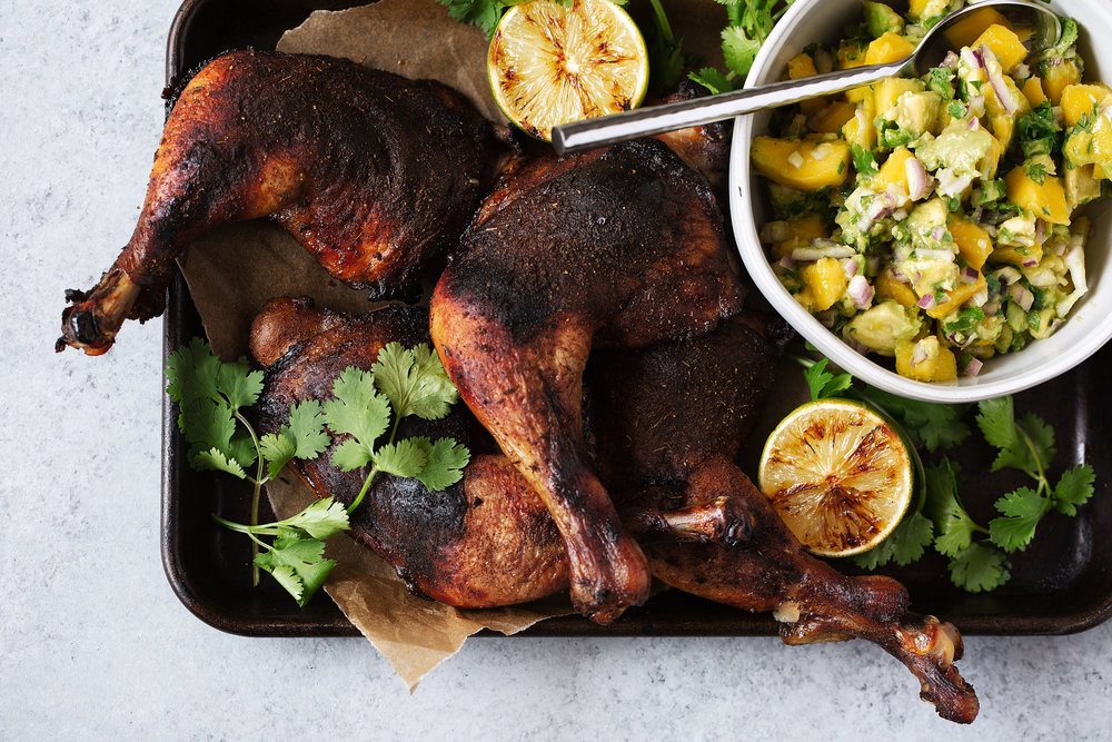 roast jerk chicken with mango avocado salsa