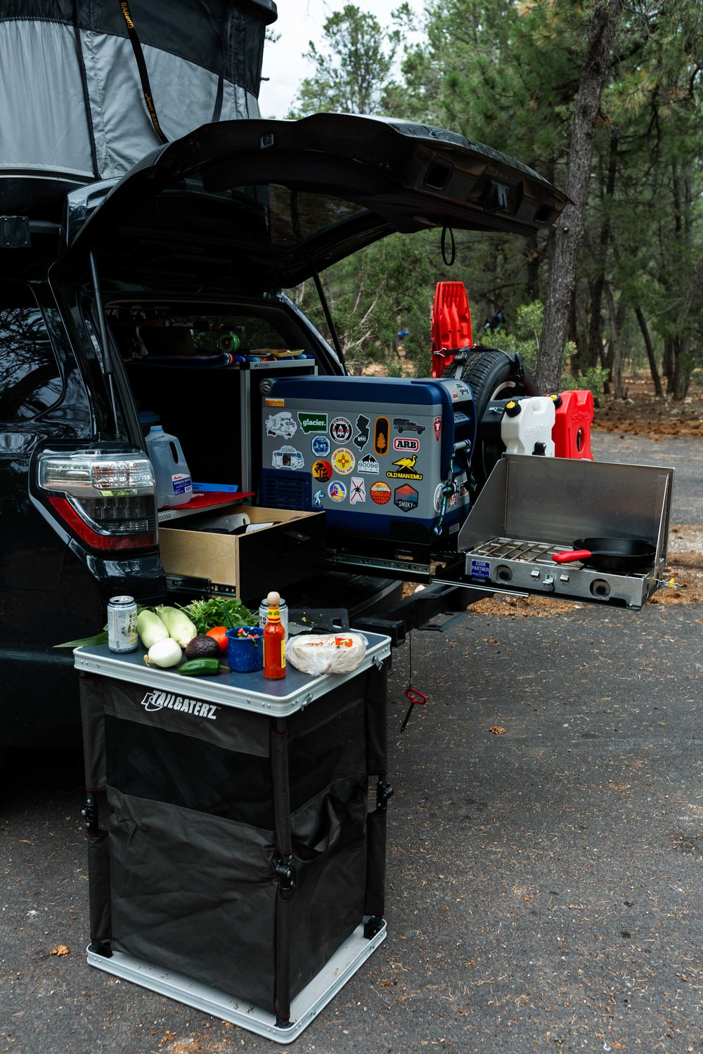 arizona road trip cooking with cocktail rings dinner camping grand canyon car setup