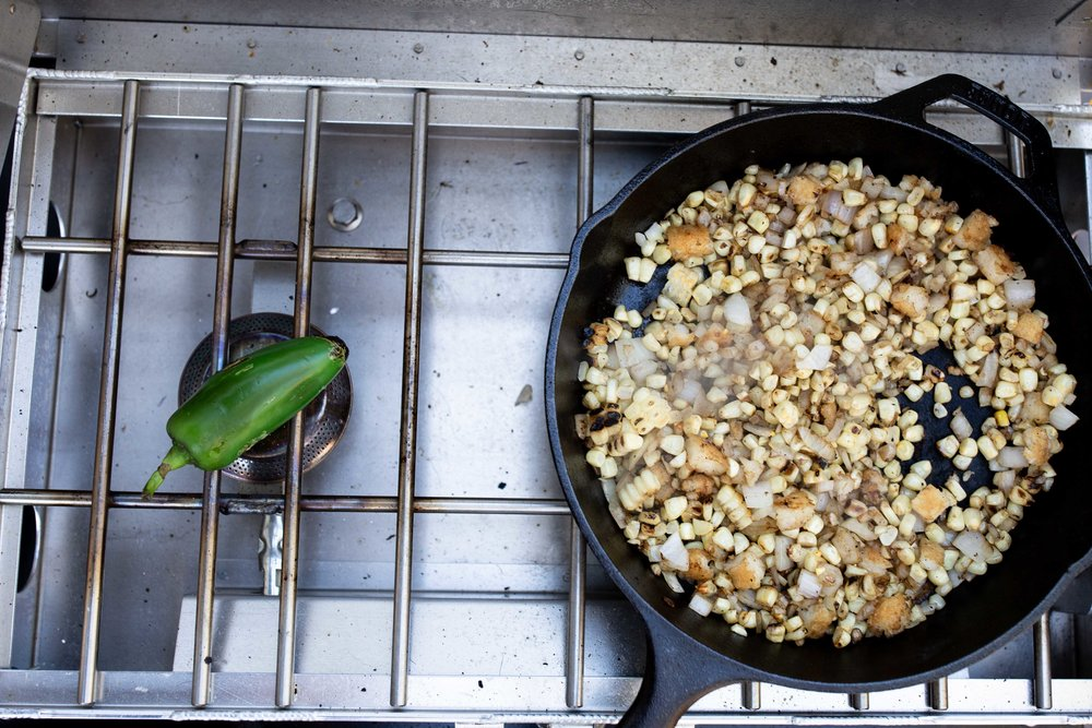 roasted corn and charred jalapeño