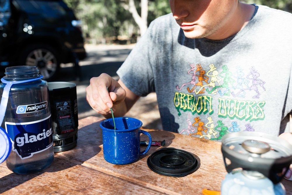 josh making coffee grand canyon national park