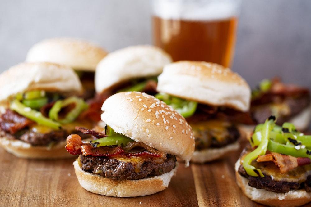 hatch chili and cheddar bacon smash burger sliders