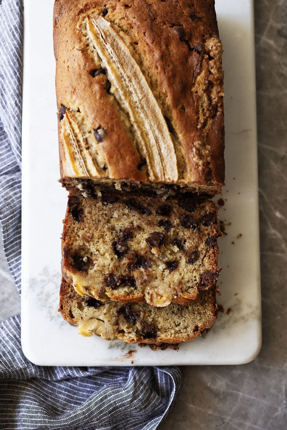 chocolate chip banana bread baked and sliced