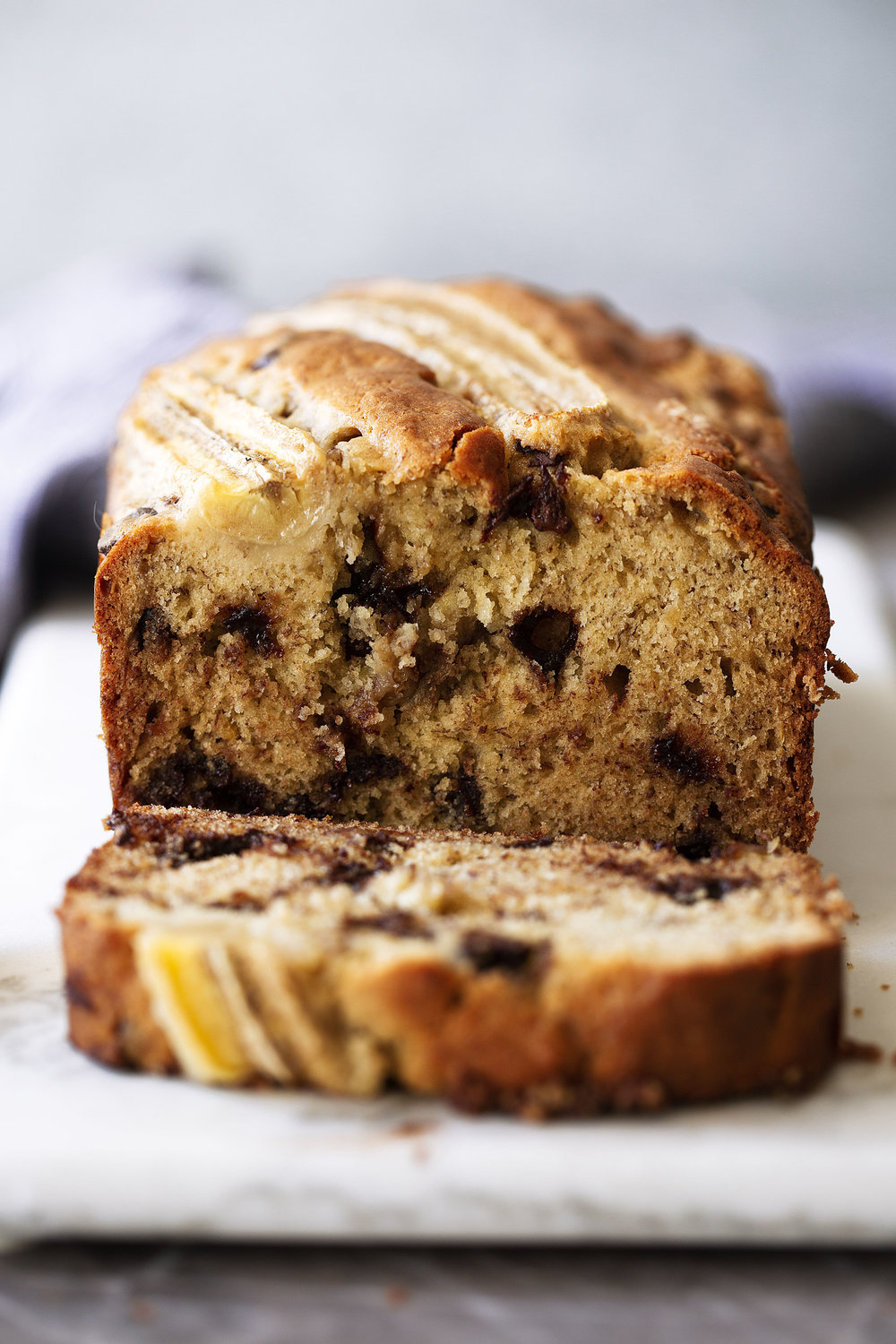 banana bread sliced cooking with cocktail rings