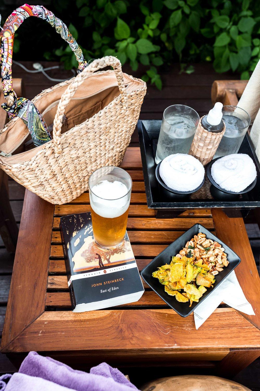 poolside snacks and beer