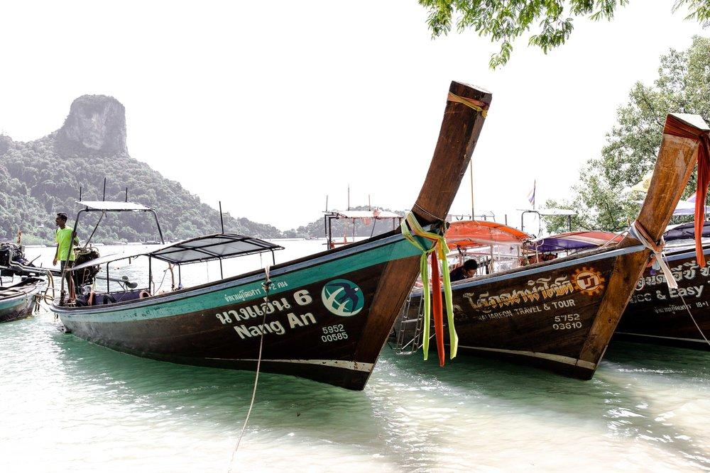 boats railay beach thailand