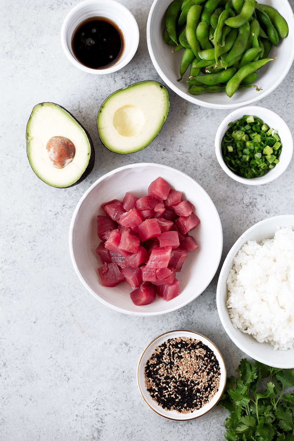 ahi tuna poké ingredients from cooking with cocktail rings