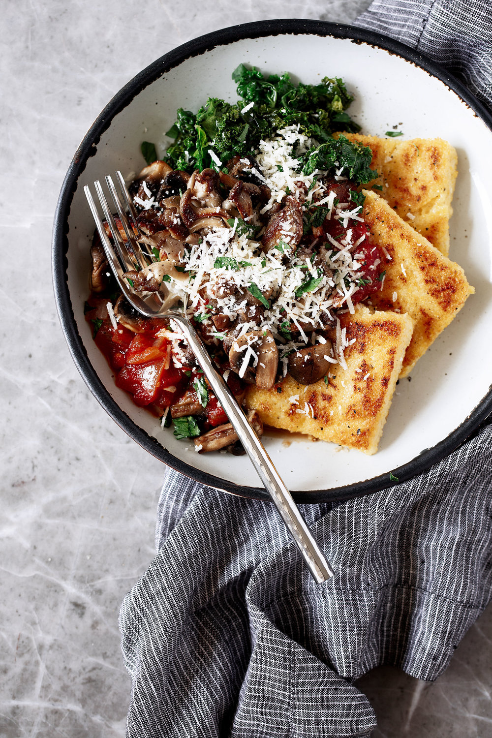 Crispy Polenta with Spicy Tomato Sauce, Sautéed Kale & Mushroomsrecipe from cooking with cocktail rings