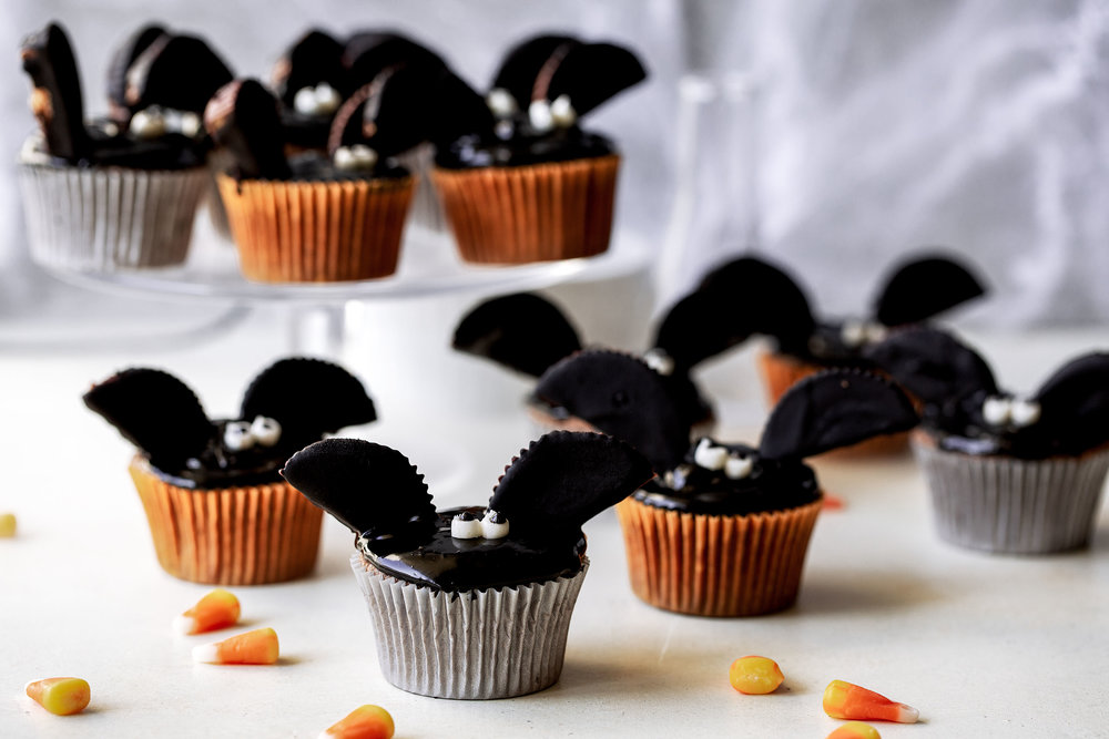 Chocolate Peanut Butter Bat Cupcakes halloween recipe from cooking with cocktail rings