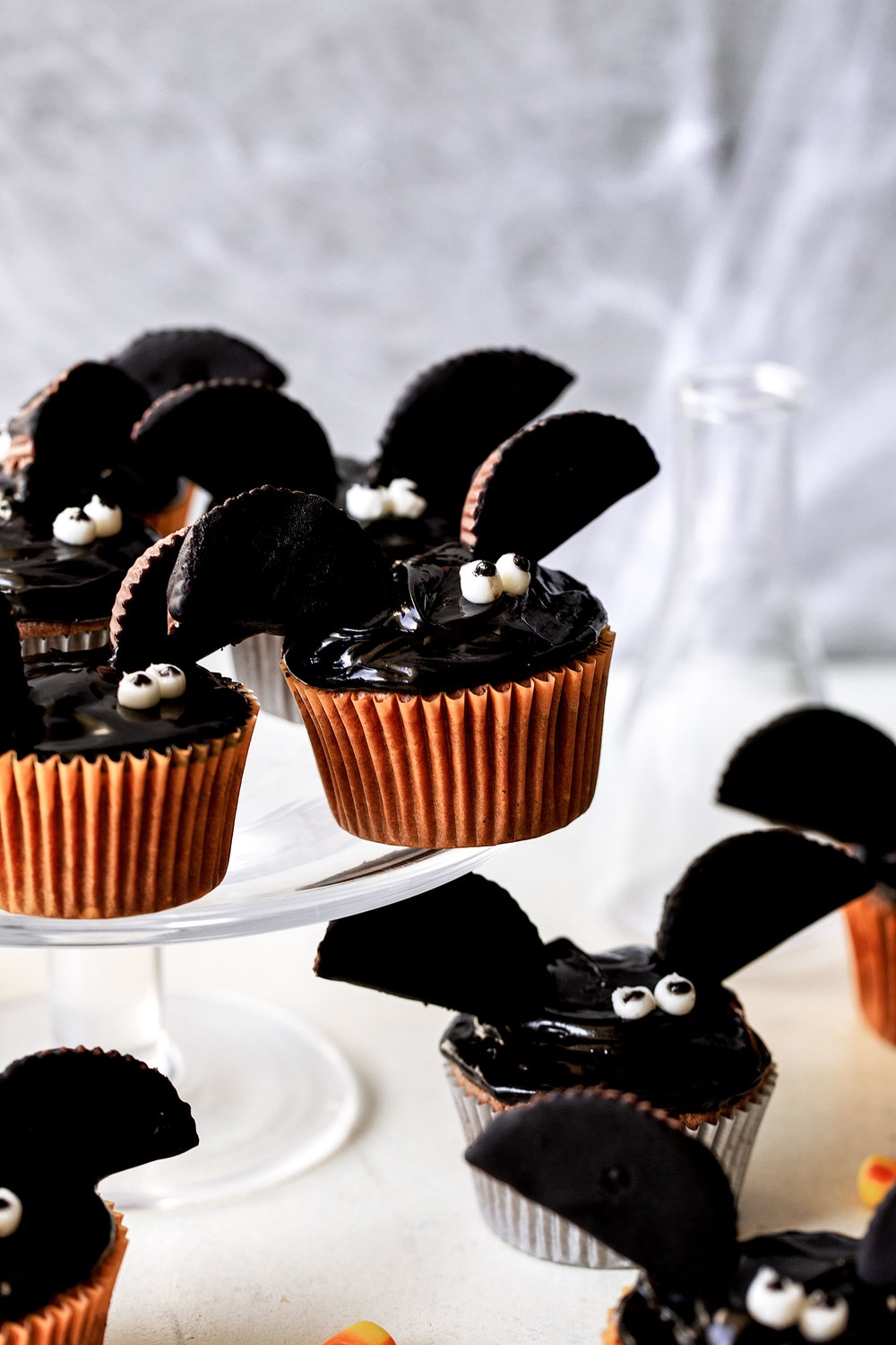 Chocolate Peanut Butter Bat Cupcakes halloween holiday recipe from cooking with cocktail rings