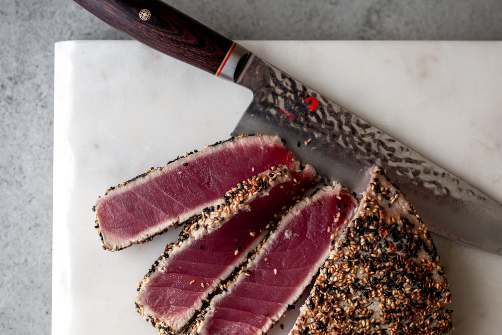 sliced seared ahi tuna