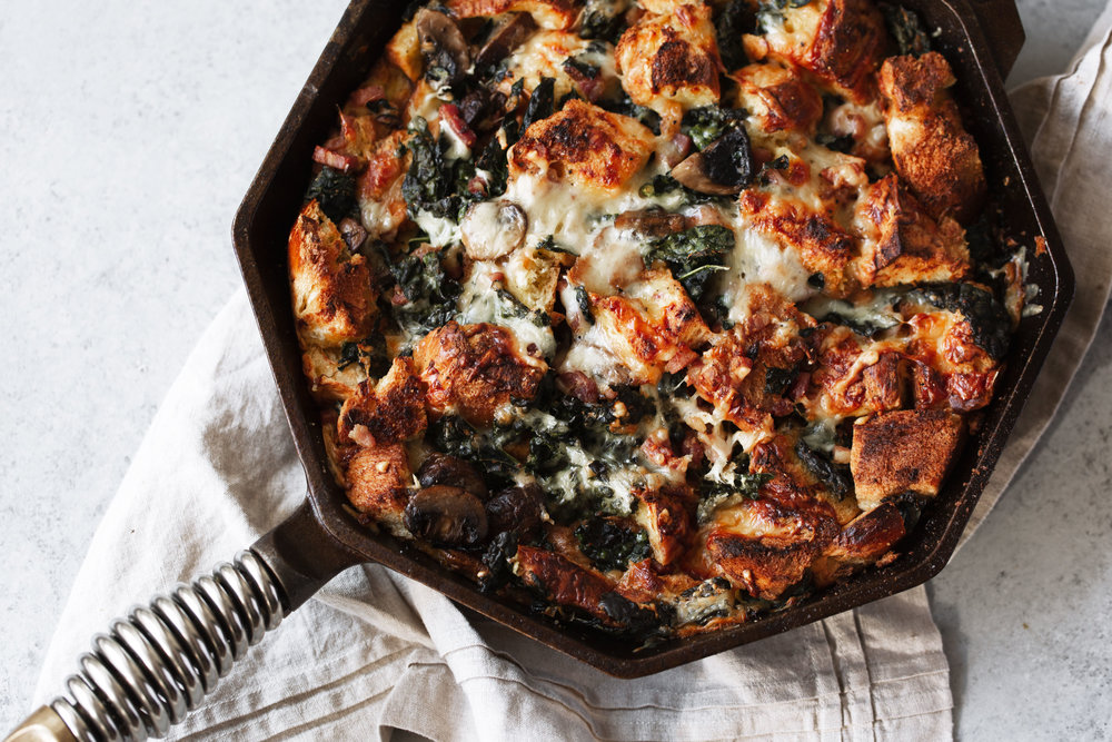 Cheesy Mushroom and Kale Brioche Strata with Pancetta