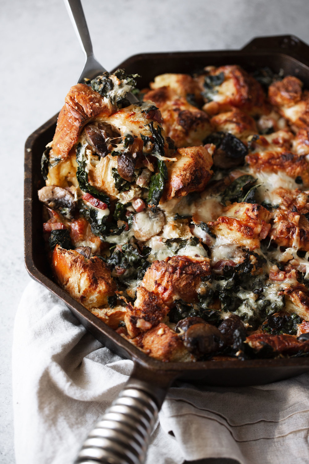 Cheesy Mushroom and Kale Brioche Strata with Pancetta holiday stuffing
