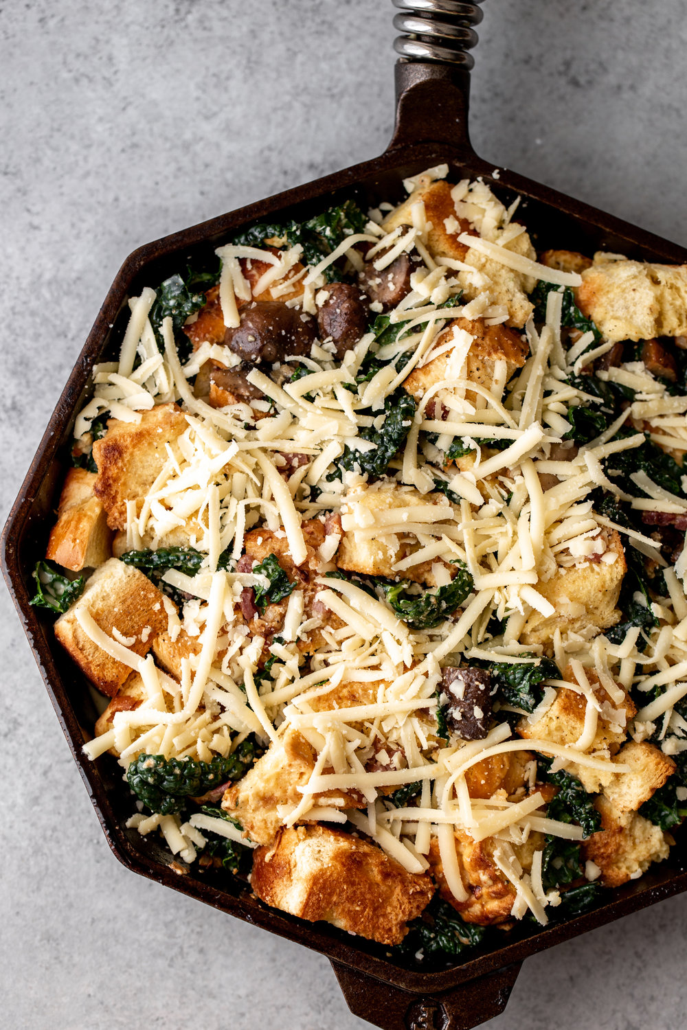 Cheesy Mushroom and Kale Brioche Strata with Pancetta oven baked