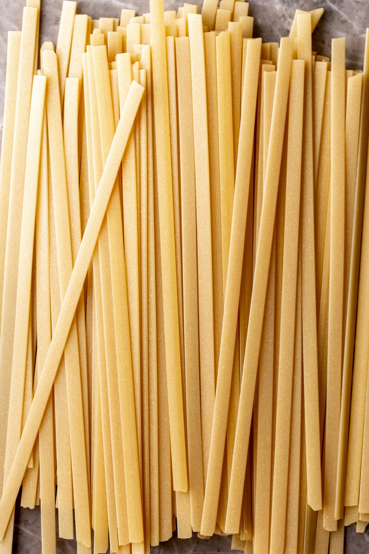 fettuccine dried pasta ingredient shot