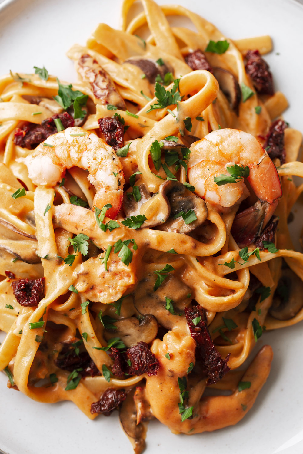 fettuccine with shrimp and sun-dried tomato cream sauce recipe from cooking with cocktail rings closeup