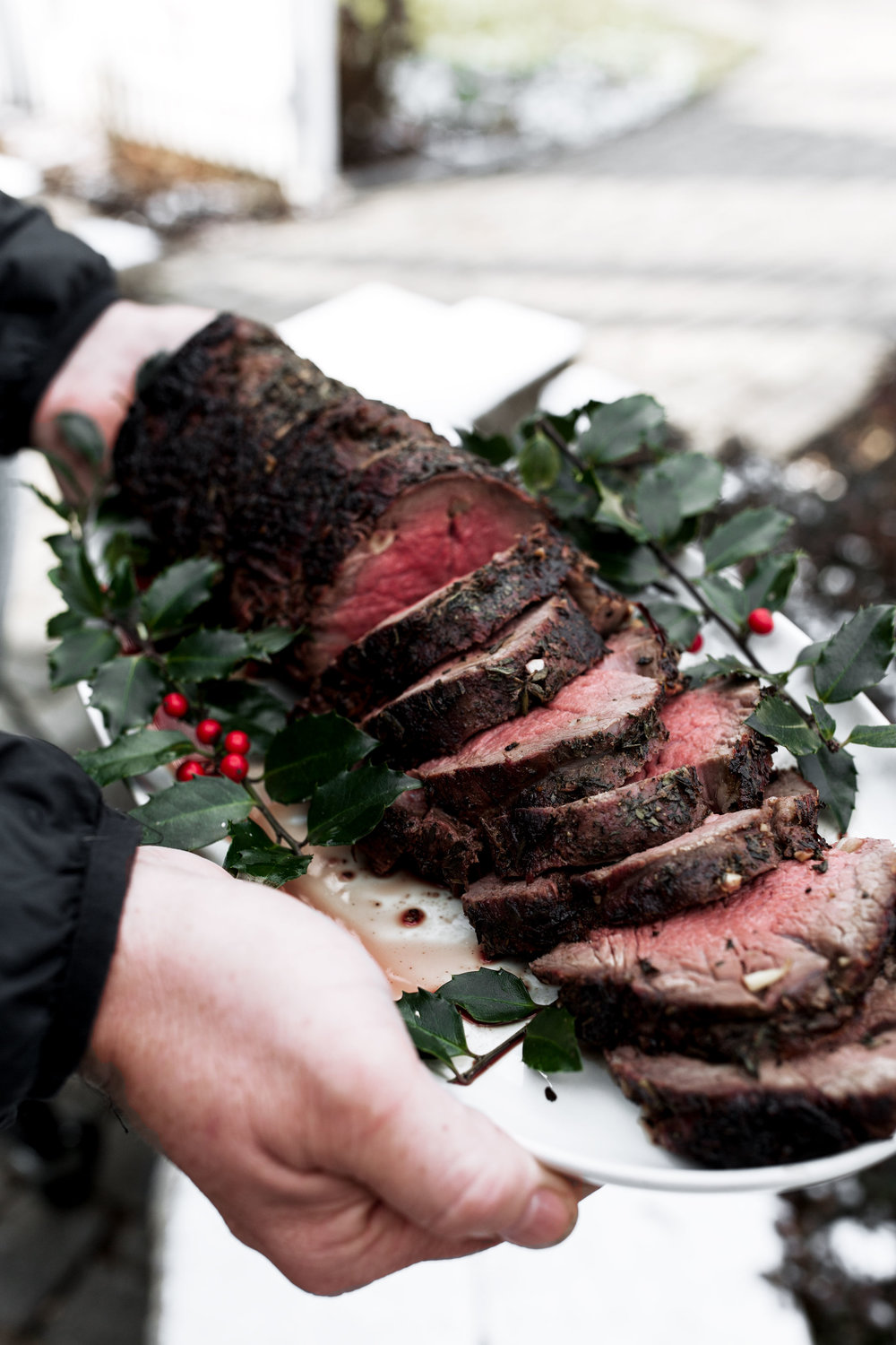 holiday Herb Roast Beef Tenderloin recipe from cooking with cocktail rings