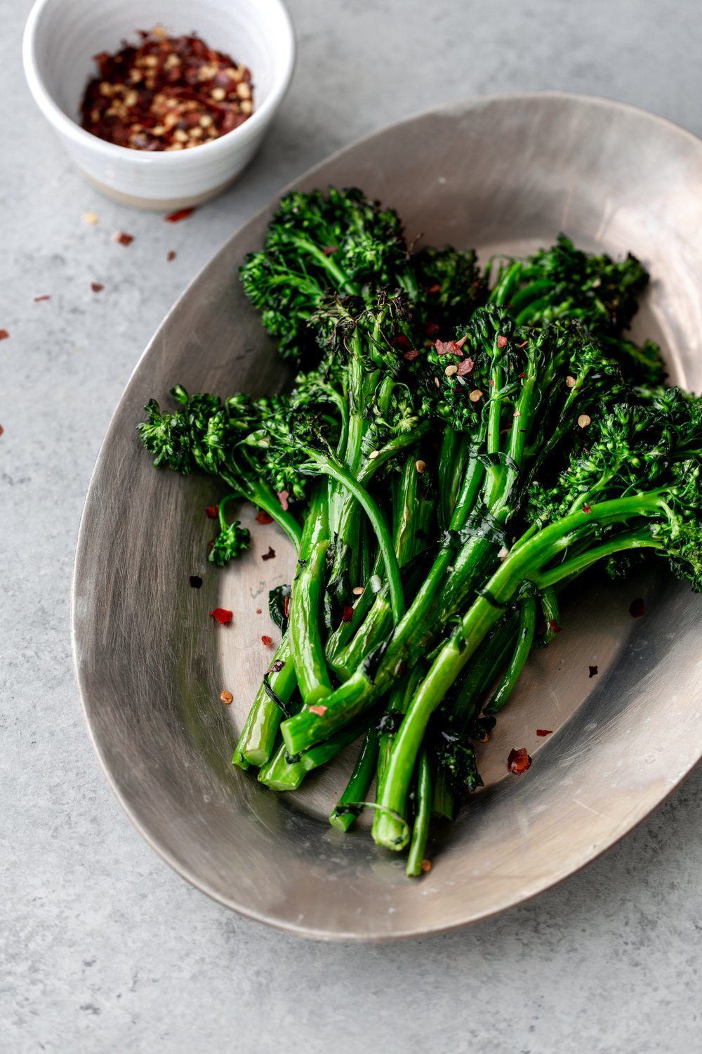 broccolini with garlic and red wine vinegar from cooking with cocktail rings