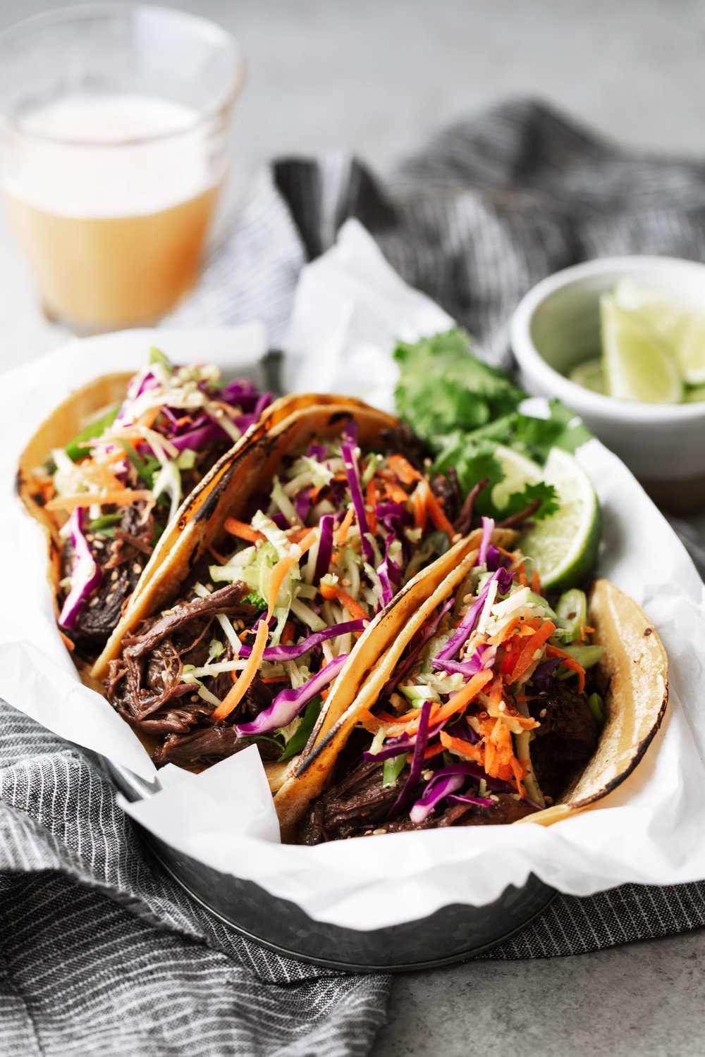 Braised Korean BBQ Beef Tacos recipe from cooking with cocktail rings