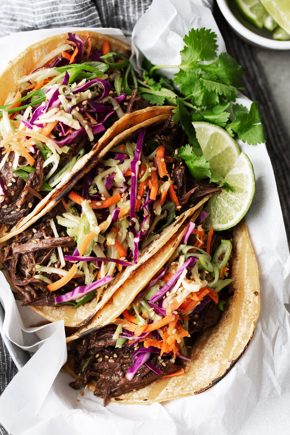 Braised Korean BBQ Beef Tacos recipe from cooking with cocktail rings closeup