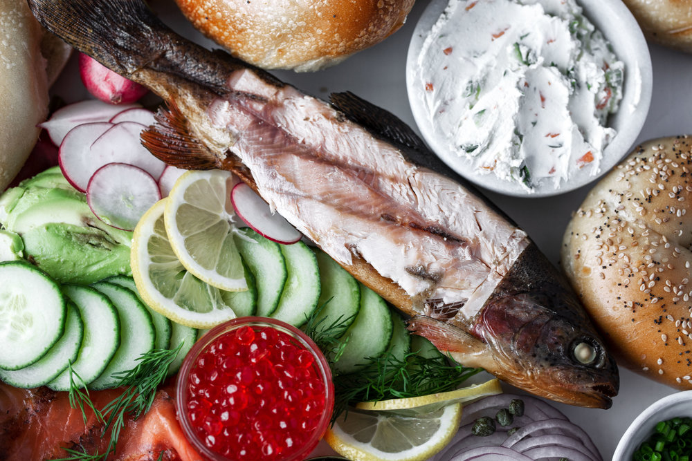 how to host a bagel brunch smoked whitefish whole trout