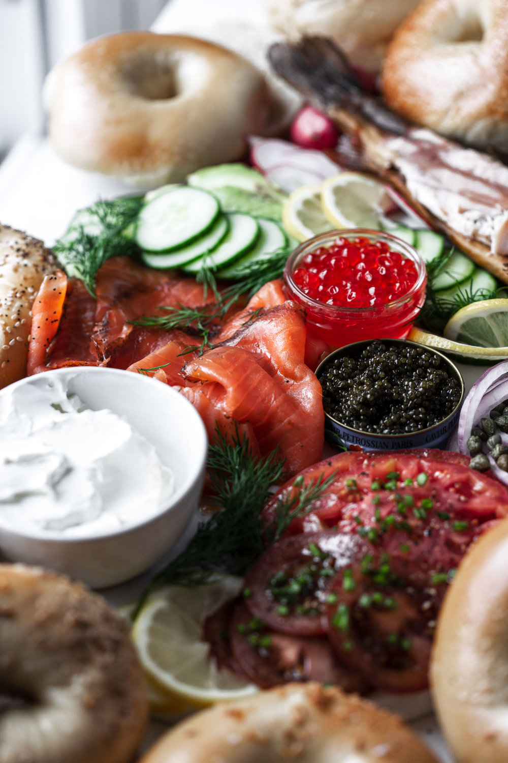how to host a bagel brunch spread closeup