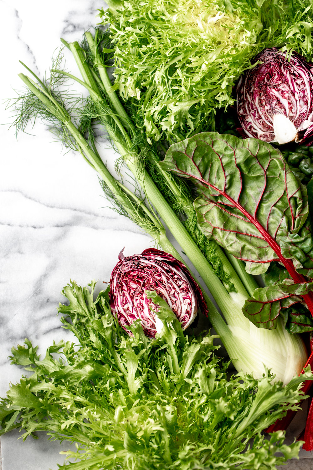 mesclun greens, radicchio, fennel, chard and frisee