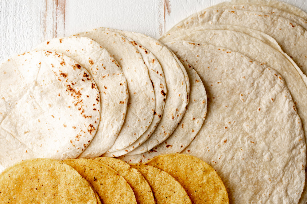 flour tortillas and tostada
