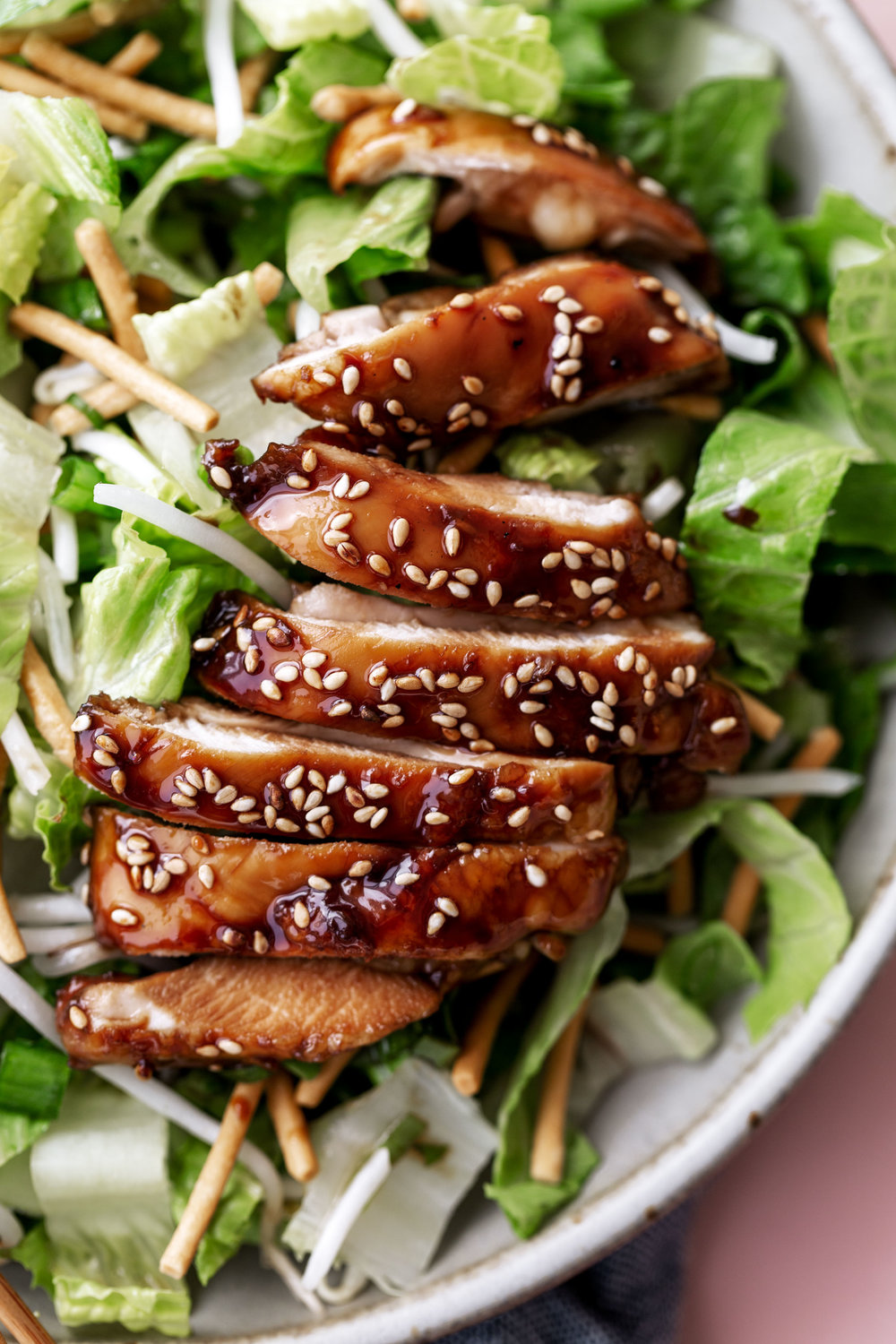 Crispy Teriyaki Chicken Salad recipe from Cooking with Cocktail rings closeup