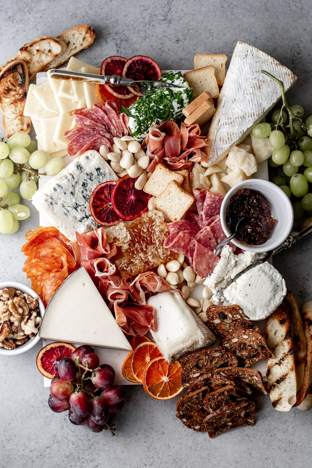 entertaining cheese and charcuterie spread from cooking with cocktail rings