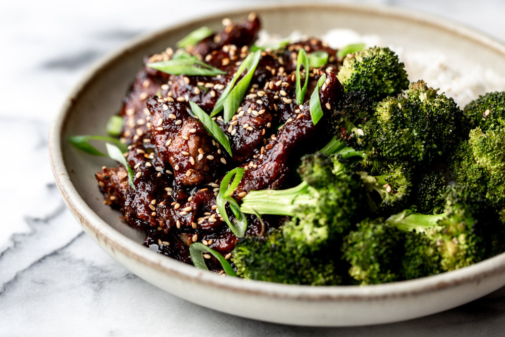 Mongolian beef and broccoli recipe from cooking with cocktail rings side view