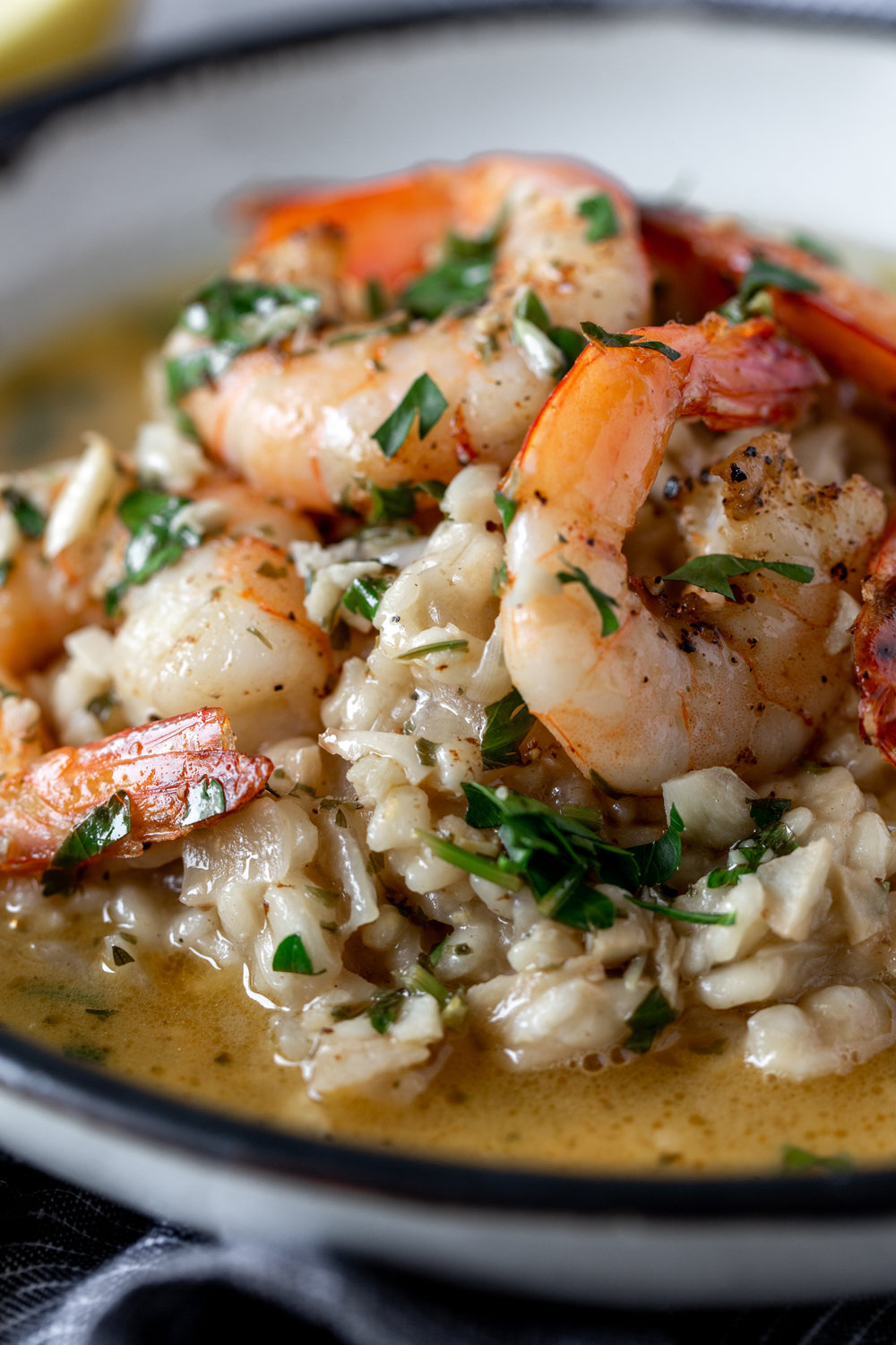 shrimp scampi risotto recipe from cooking with cocktail rings closeup