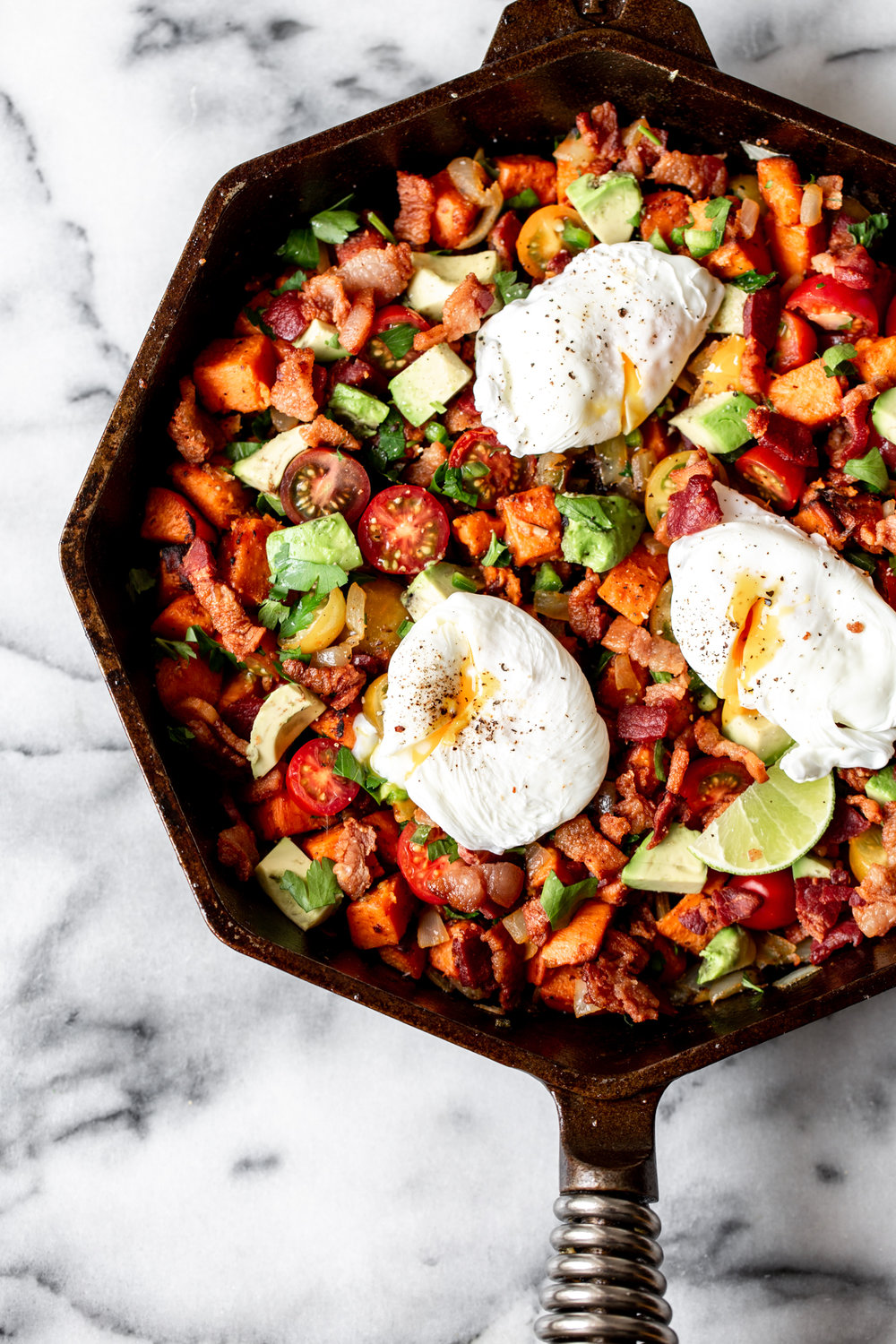 sweet potato and bacon hash recipe from cooking with cocktail rings