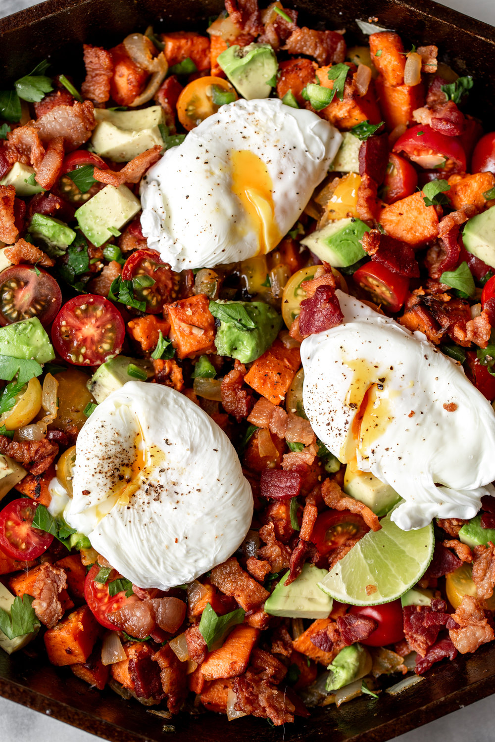 sweet potato and bacon hash recipe from cooking with cocktail rings closeup