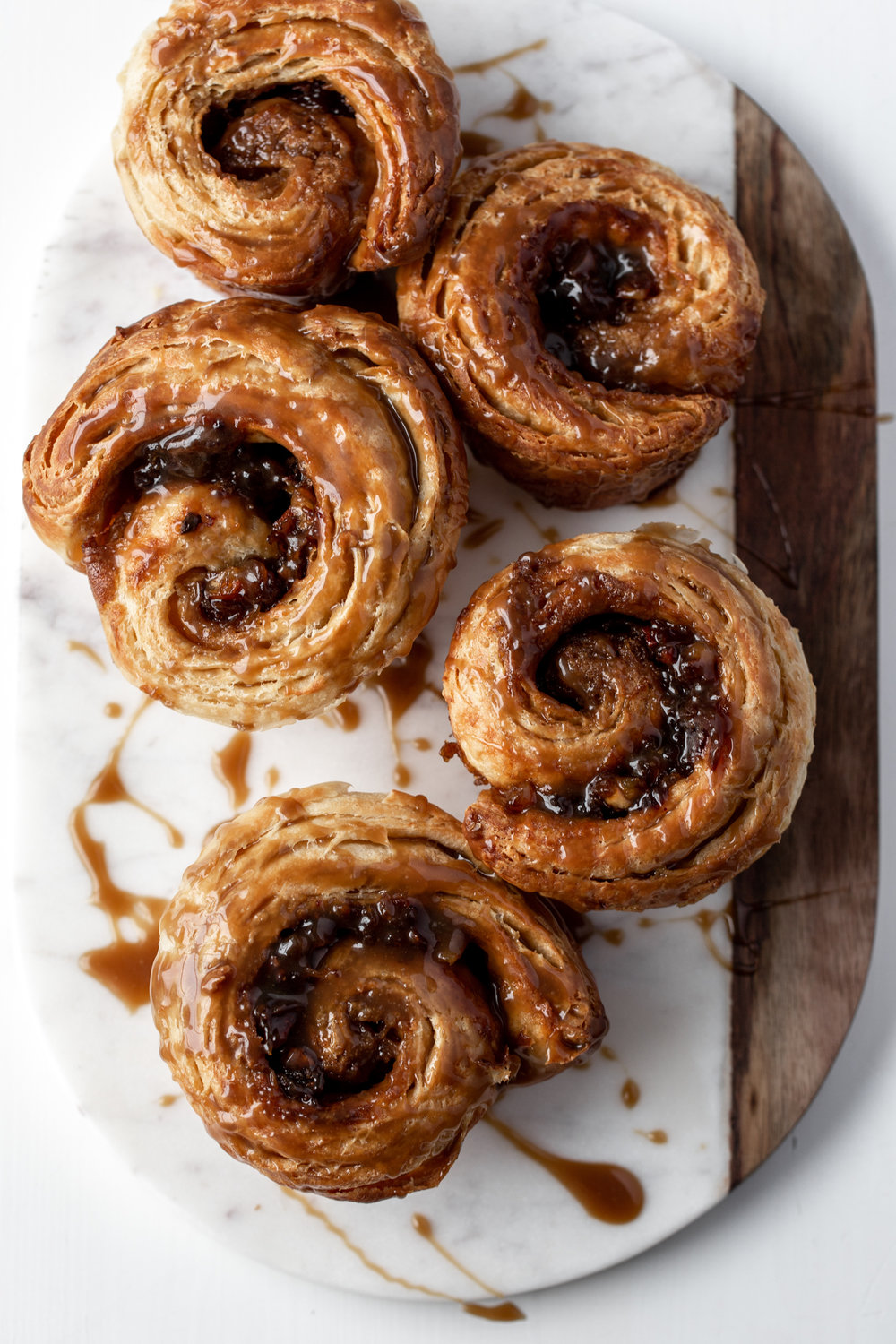 Sticky Toffee Morning Buns recipe from cooking with cocktail rings pastry