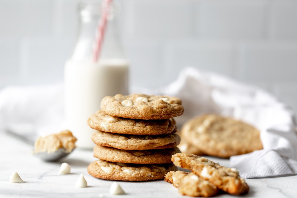 Miso Brown Butter Cookies with White Chocolate Chips stack cooking with cocktail rings