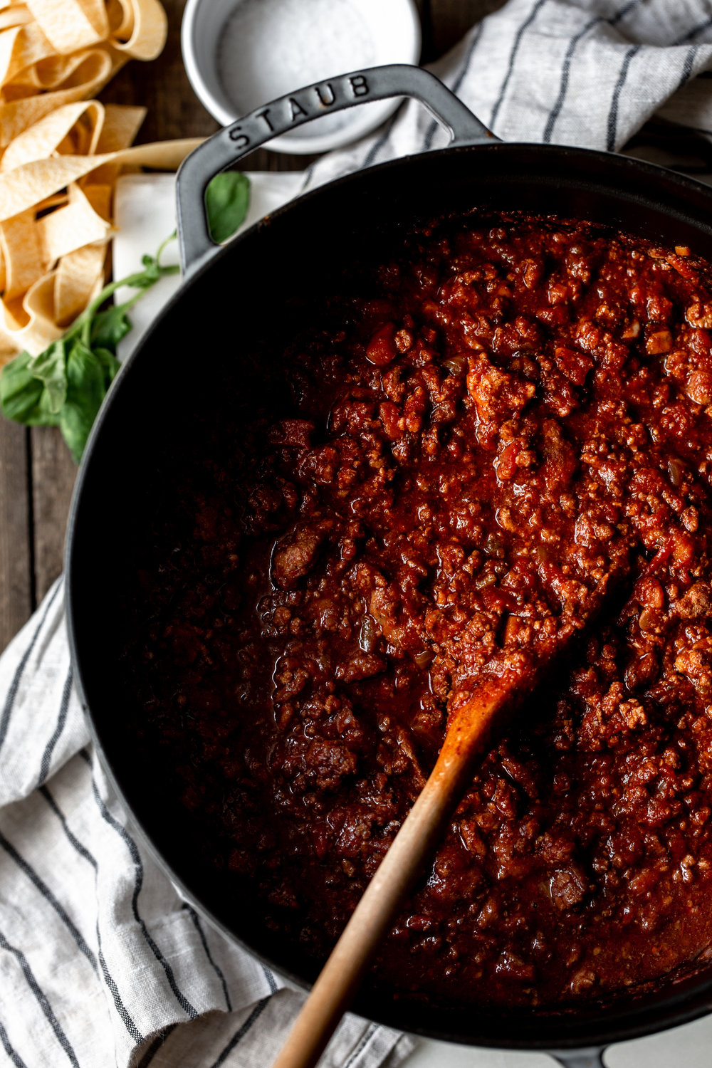 Bolognese sauce with beef, pork, veal and hot Italian sausage