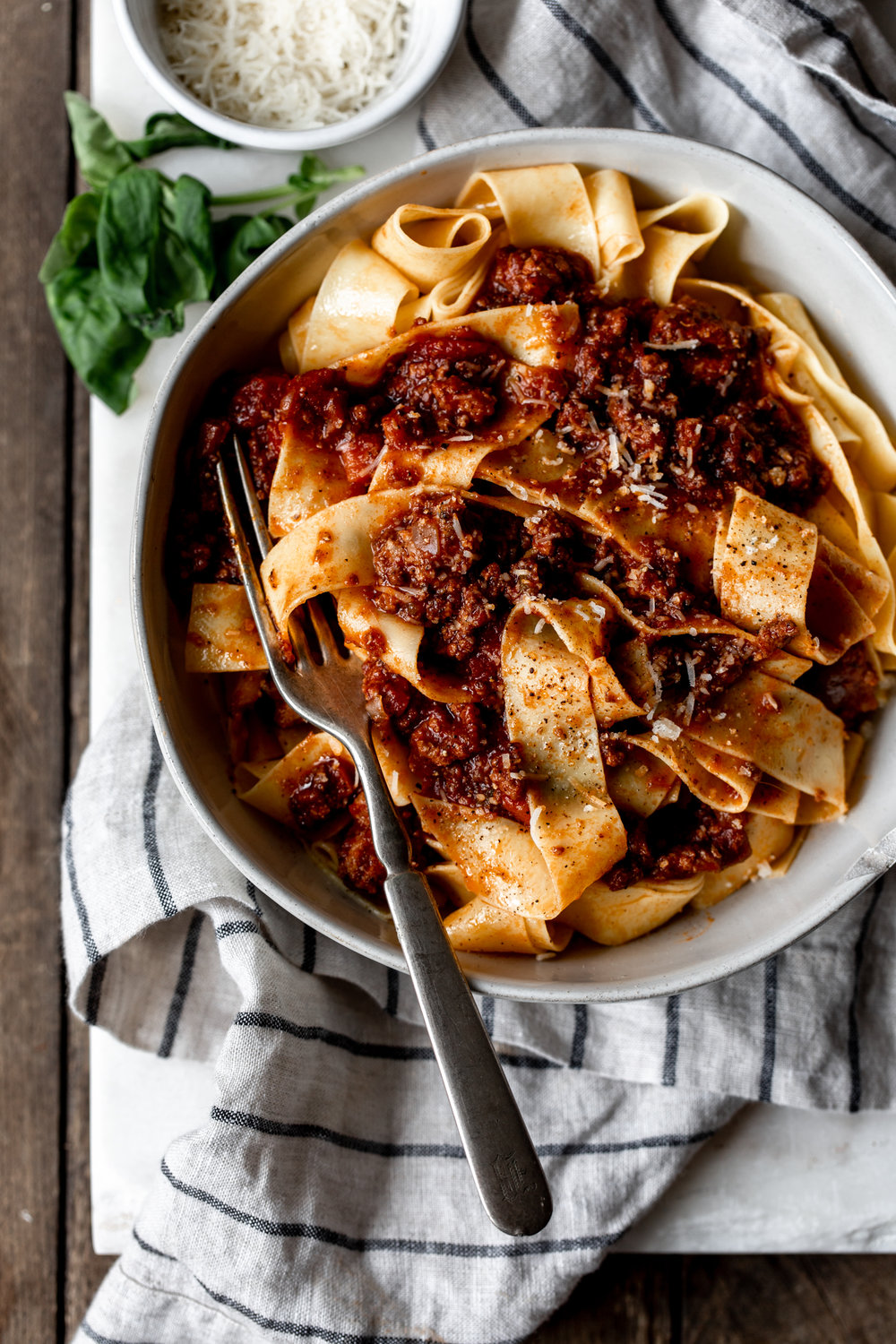 Bolognese sauce over Pappardelle recipe from Cooking with Cocktail Rings