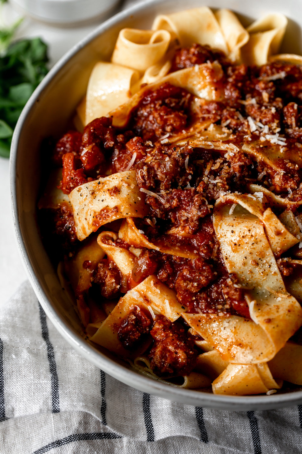 Bolognese sauce over Pappardelle recipe from Cooking with Cocktail Rings closeup