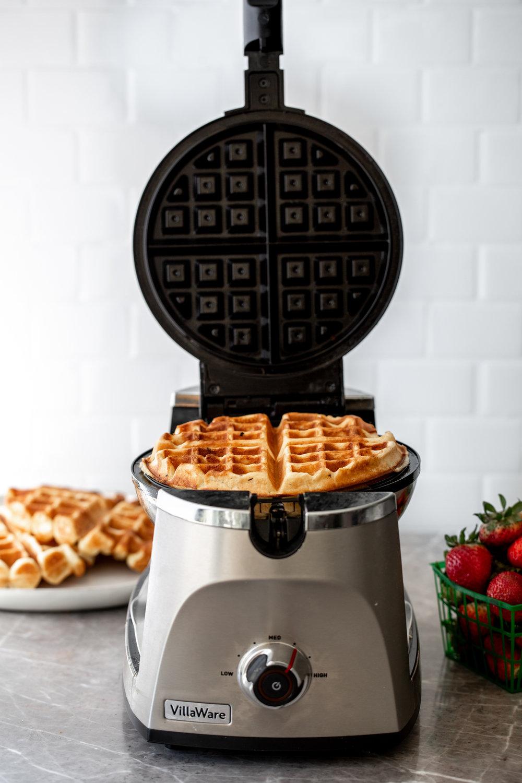 yeasty overnight waffles in iron