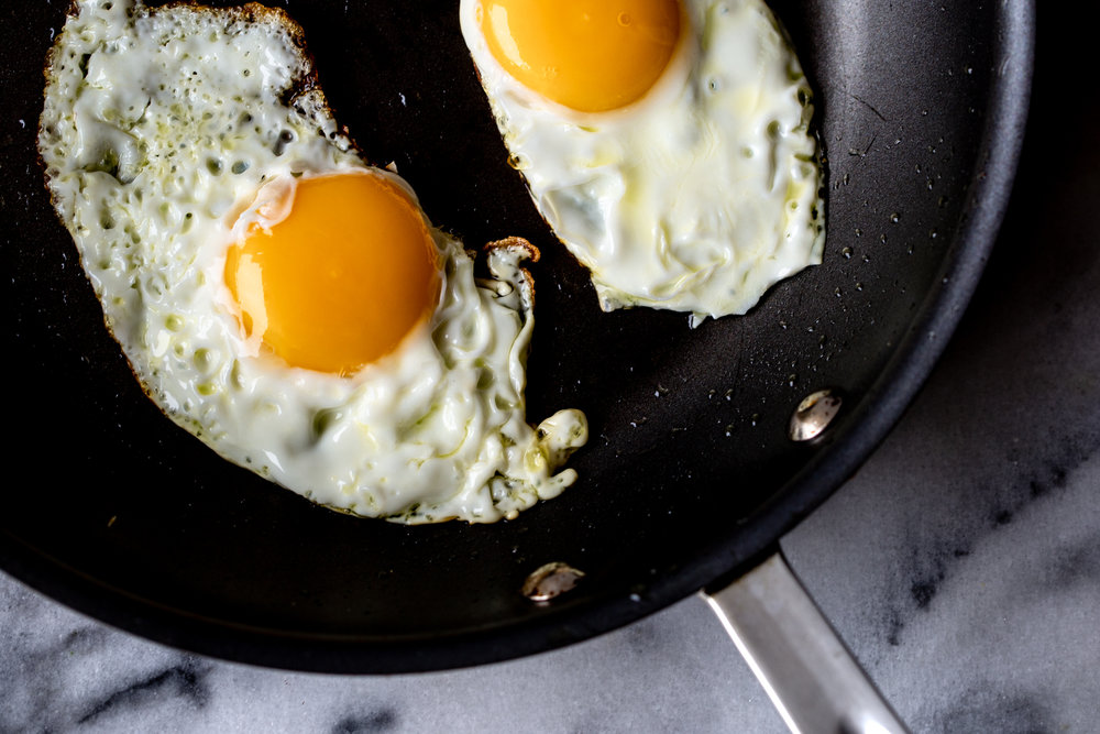pan fried sunny side up eggs