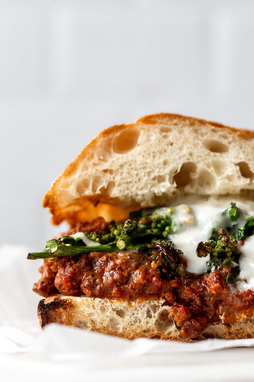 Italian Sloppy Joe Sandwich closeup