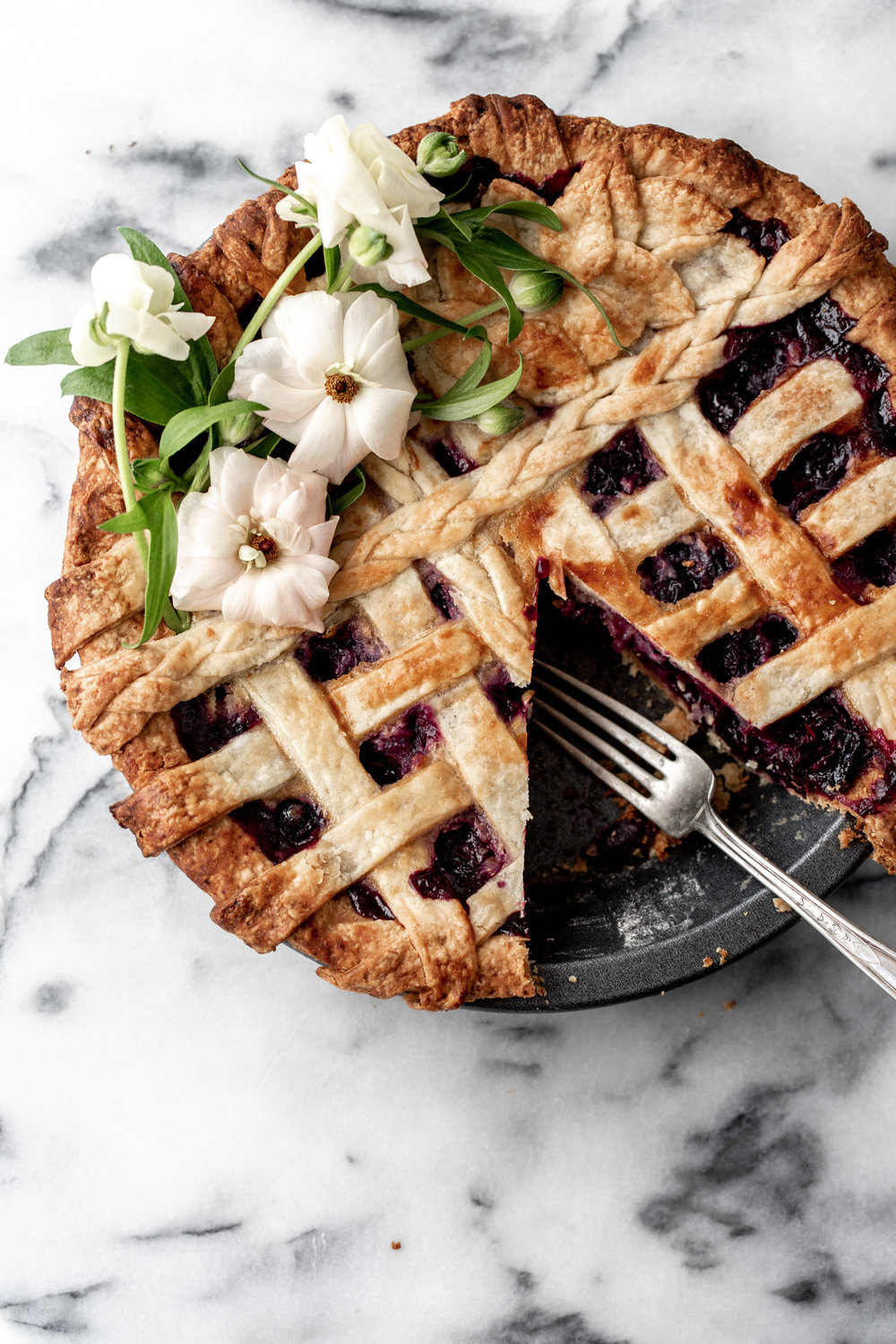 Blueberry Lavender Honey Pie recipe from cooking with cocktail rings