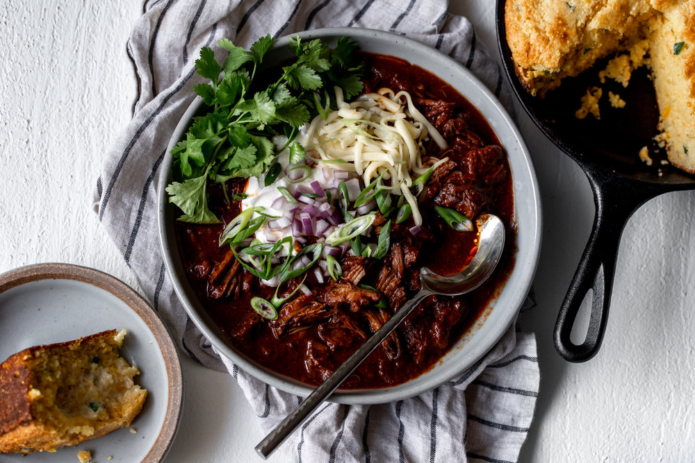 Texas-Style Beef Short Rib Chili, Two Waysrecipe from cooking with cocktail rings