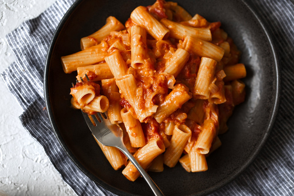 spicy rigatoni cooking with cocktail rings