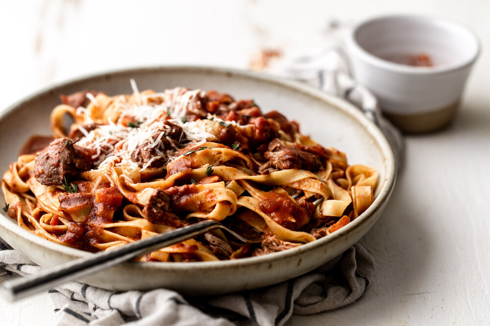 Lamb Ragu over Tagliatelle — Cooking with Cocktail Rings