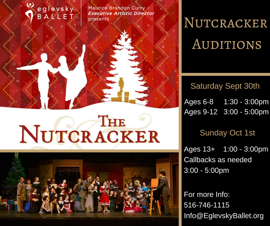 $25 Audition Fee For Non-Eglevsky Ballet Members  Please bring Headshot and arrive 20 minutes early.