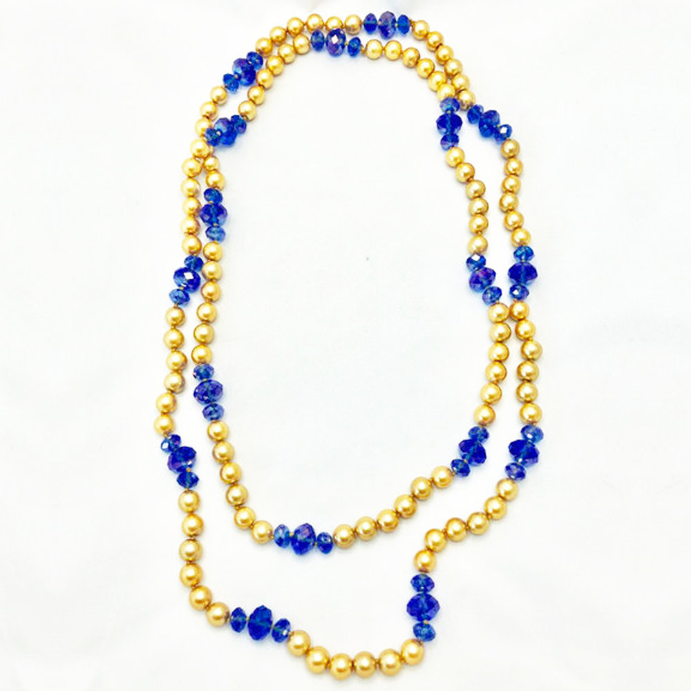 Blue Crystal & Gold Pearl Necklace