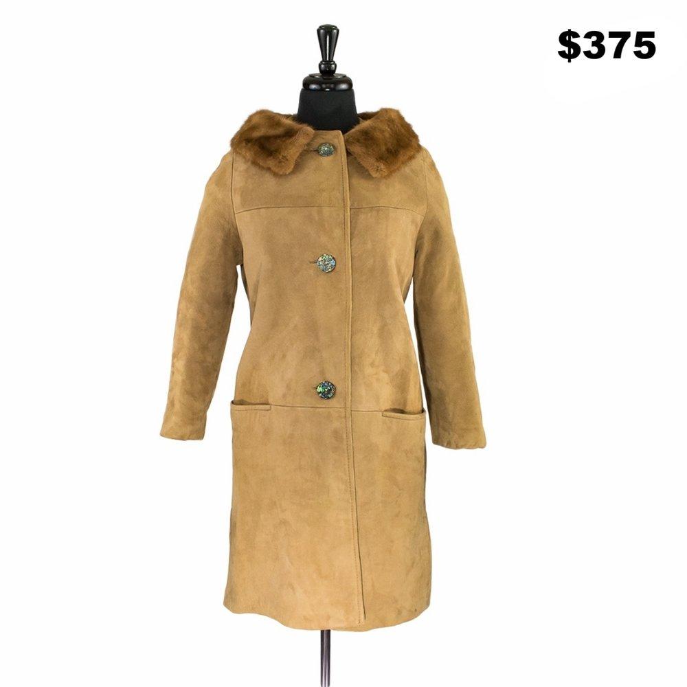 Mink Collar Tan Suede Jacket - $375