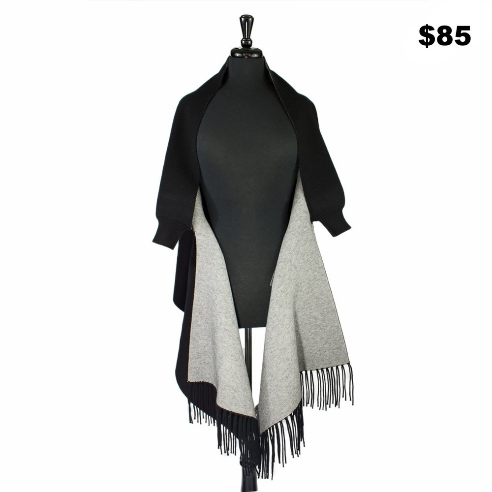 Black Knit Double Sided Wrap - $85